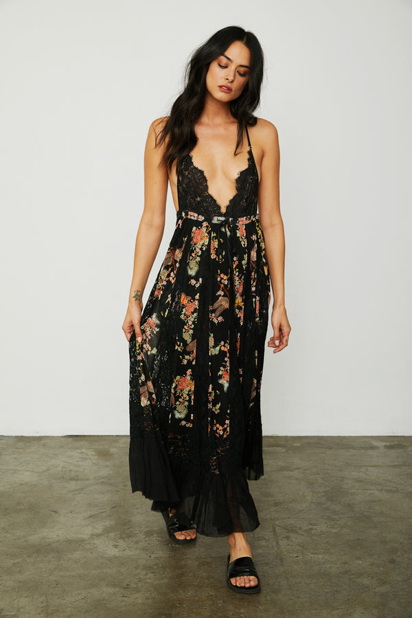 black floral maxi knit lace dress deep v neck adjustable and lined