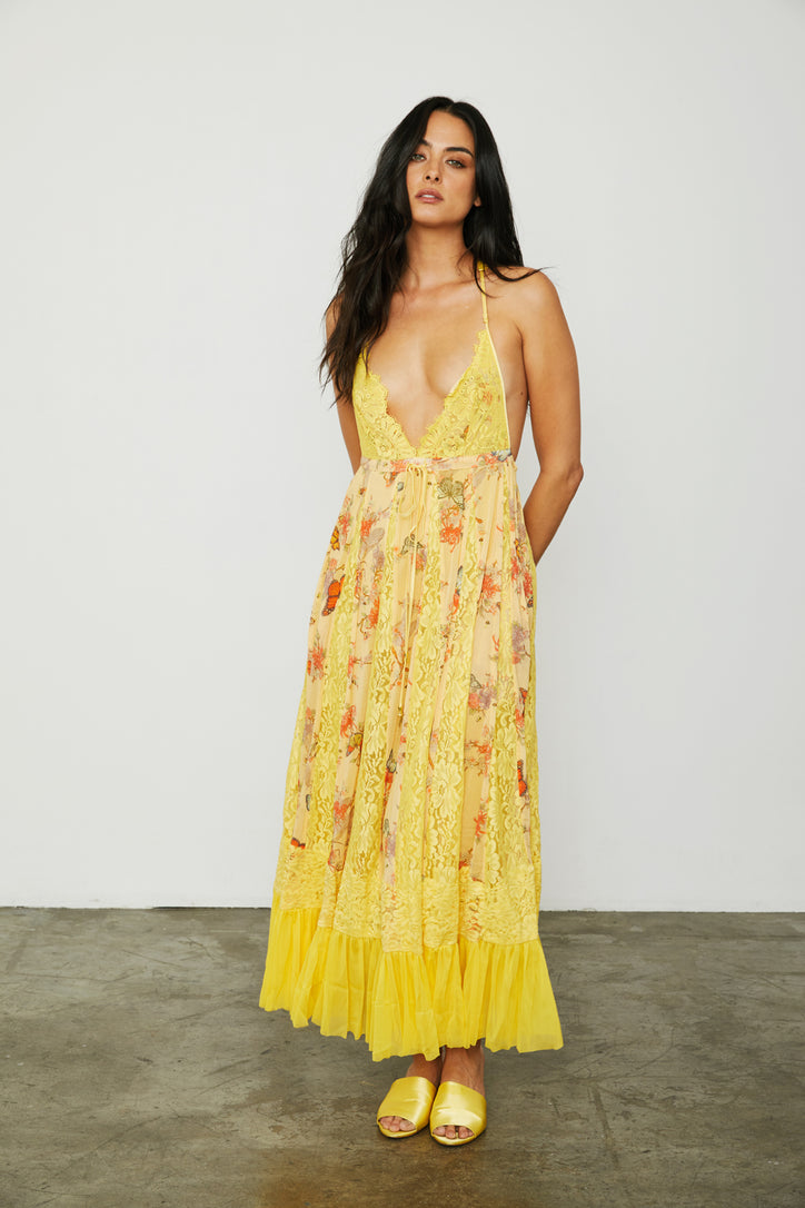 yellow maxi knit lace dress deep v neck adjustable and lined