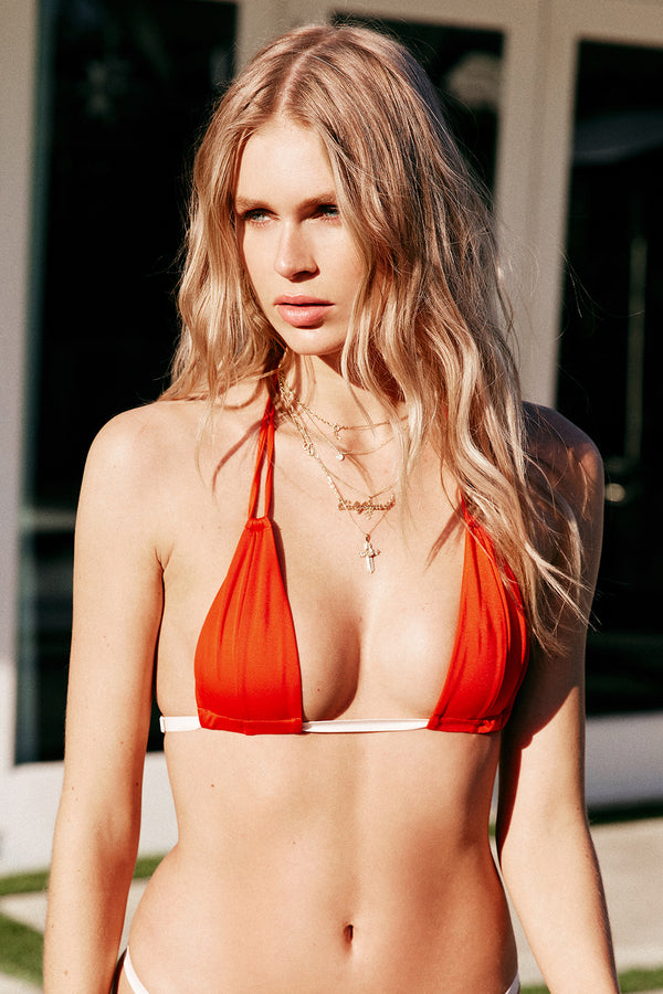blood orange vintage inspired bikini top minimal Brazilian coverage eco-friendly & sustainable fabric