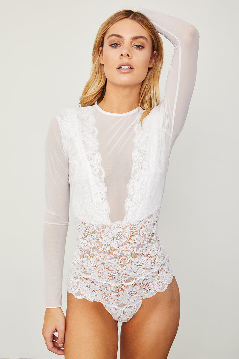 White elegant stretch mesh & lace long-sleeved bodysuit with a deep V-Neck & allover coverage.