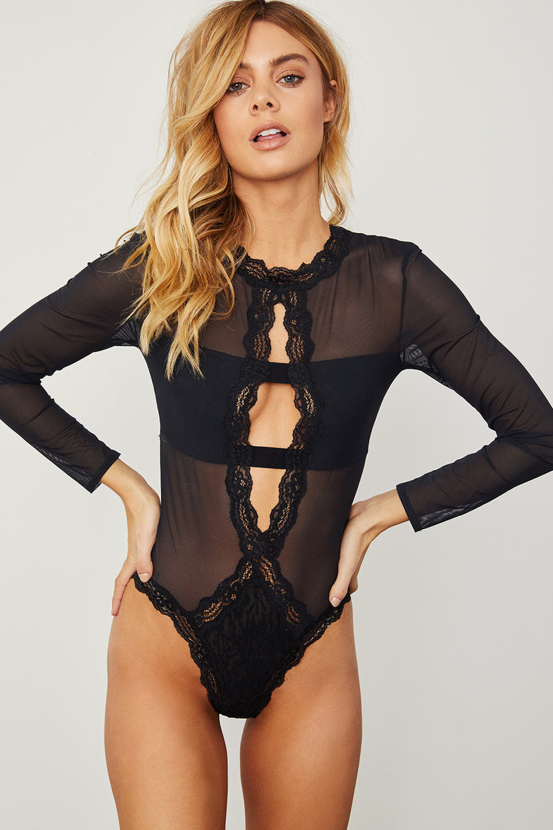 black mesh   lace sheer long-sleeved bodysuit. Sexy   comfortable. aea9d4e48