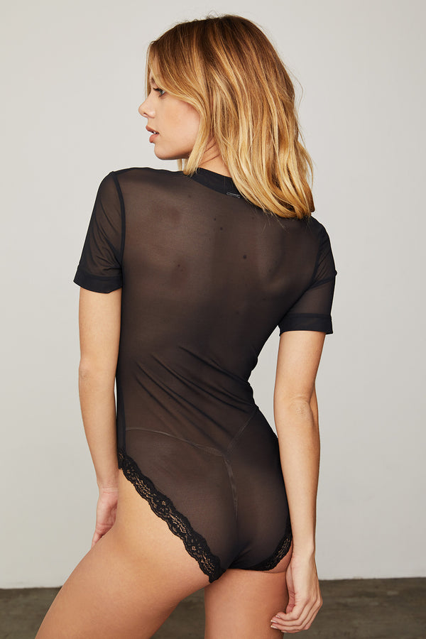 black mesh bodysuit short sleeve sexy