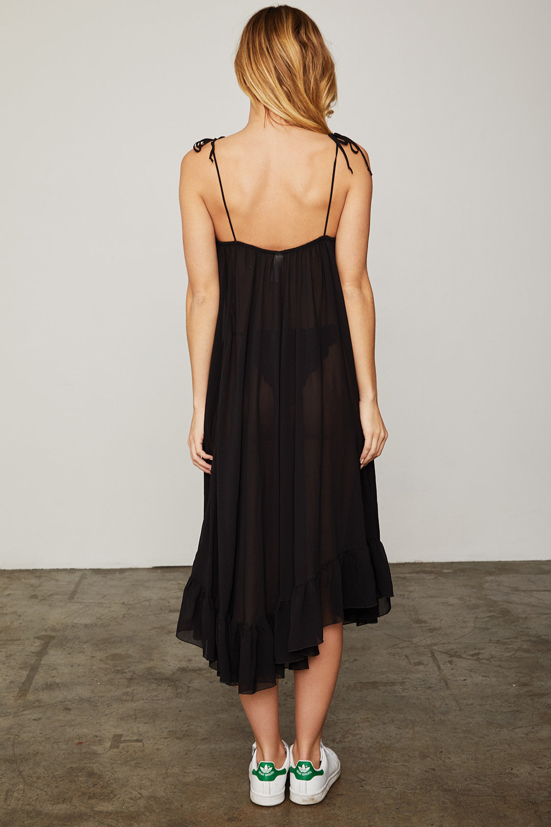 black spaghetti strap midi dress with ruffles made of chiffon machine washable