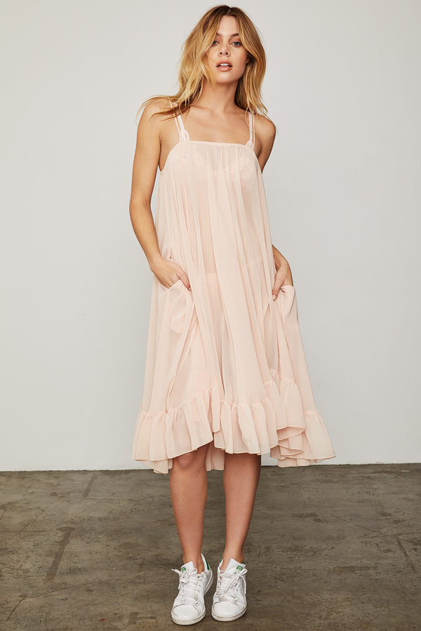 light pink spaghetti strap midi dress with ruffles made of chiffon machine washable
