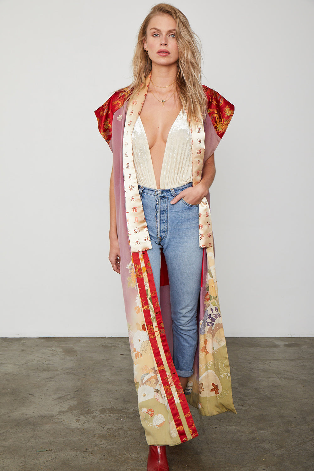 pink and red long vintage kimono with floral detailing and asian inspired