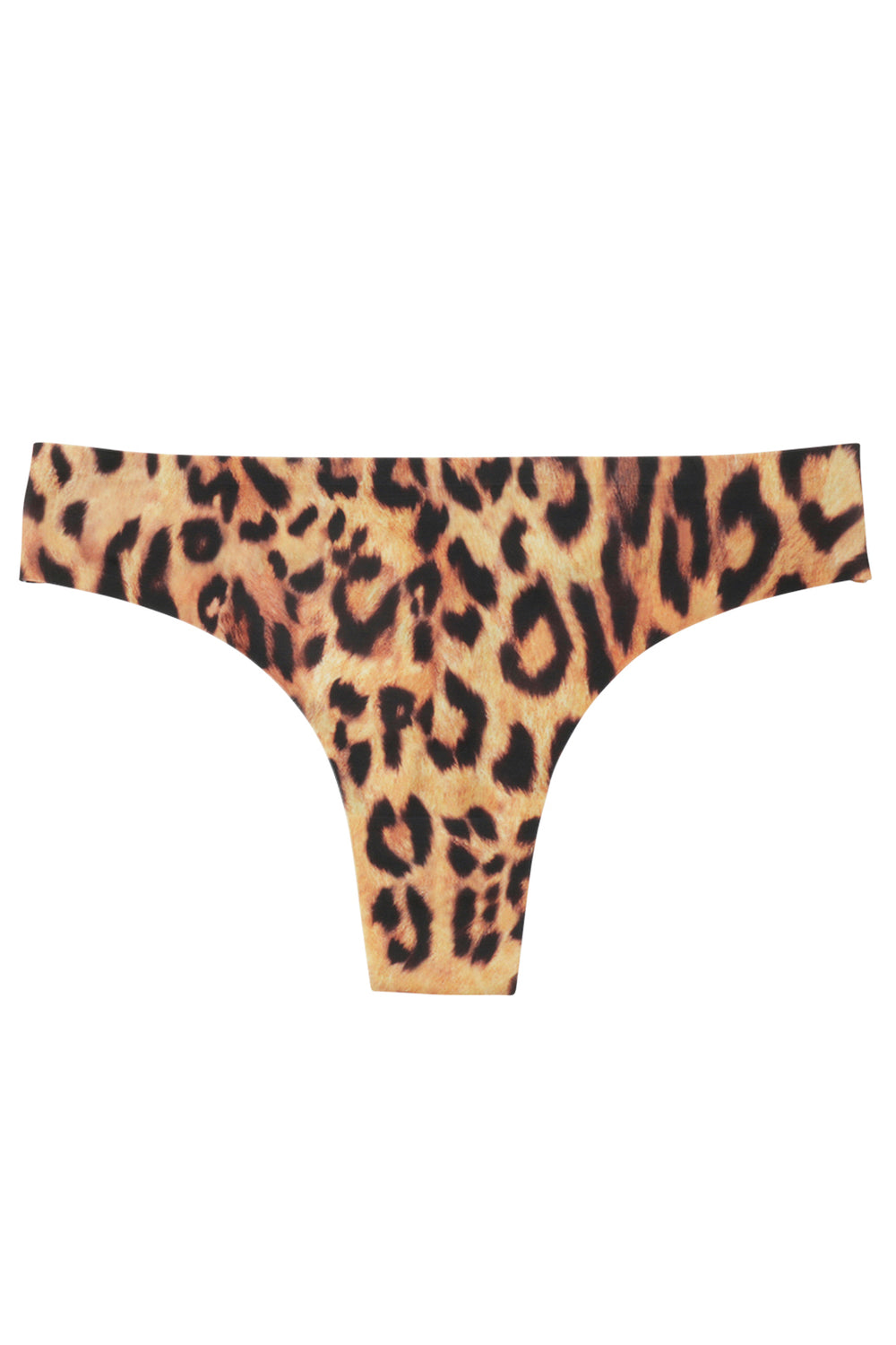 Leopard print low rise thong panty, eco-friendly machine washable