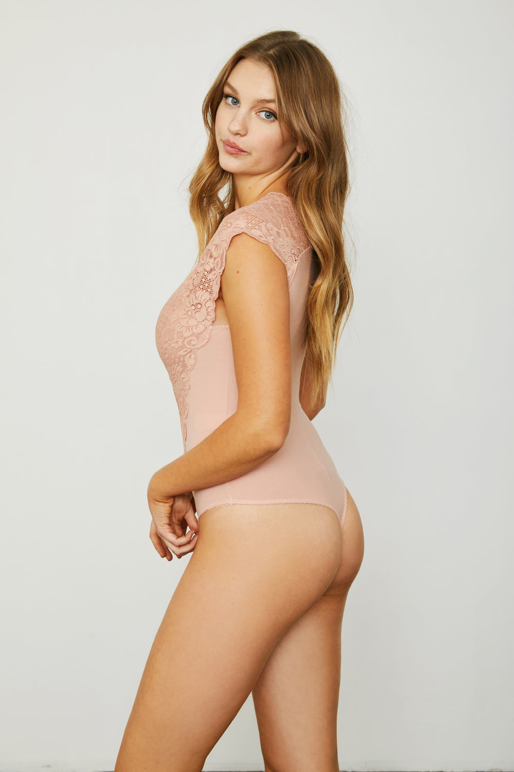pink lace stretch knit v neck bodysuit