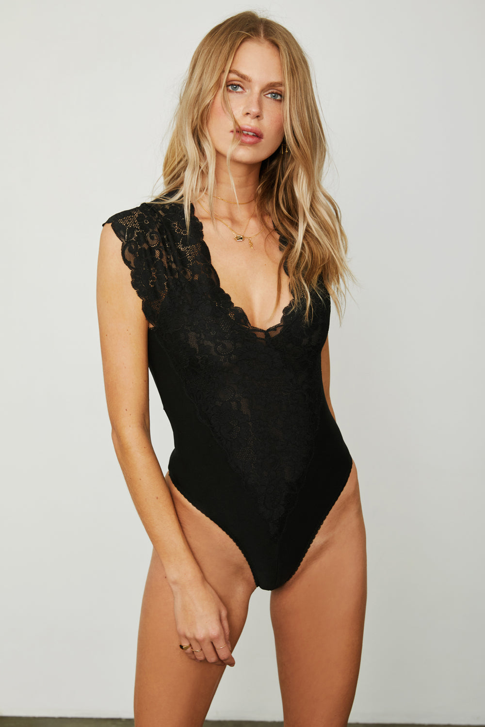 black lace stretch knit v neck bodysuit