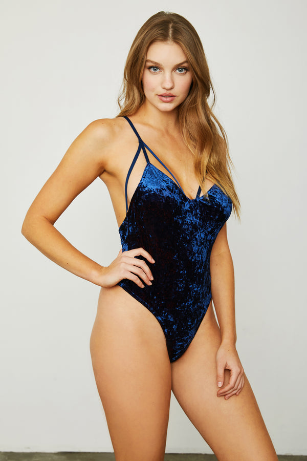 navy blue stretch velvet v neck bodysuit
