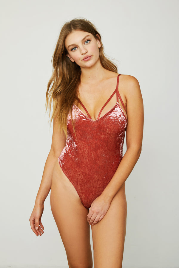 pink red stretch velvet v neck bodysuit