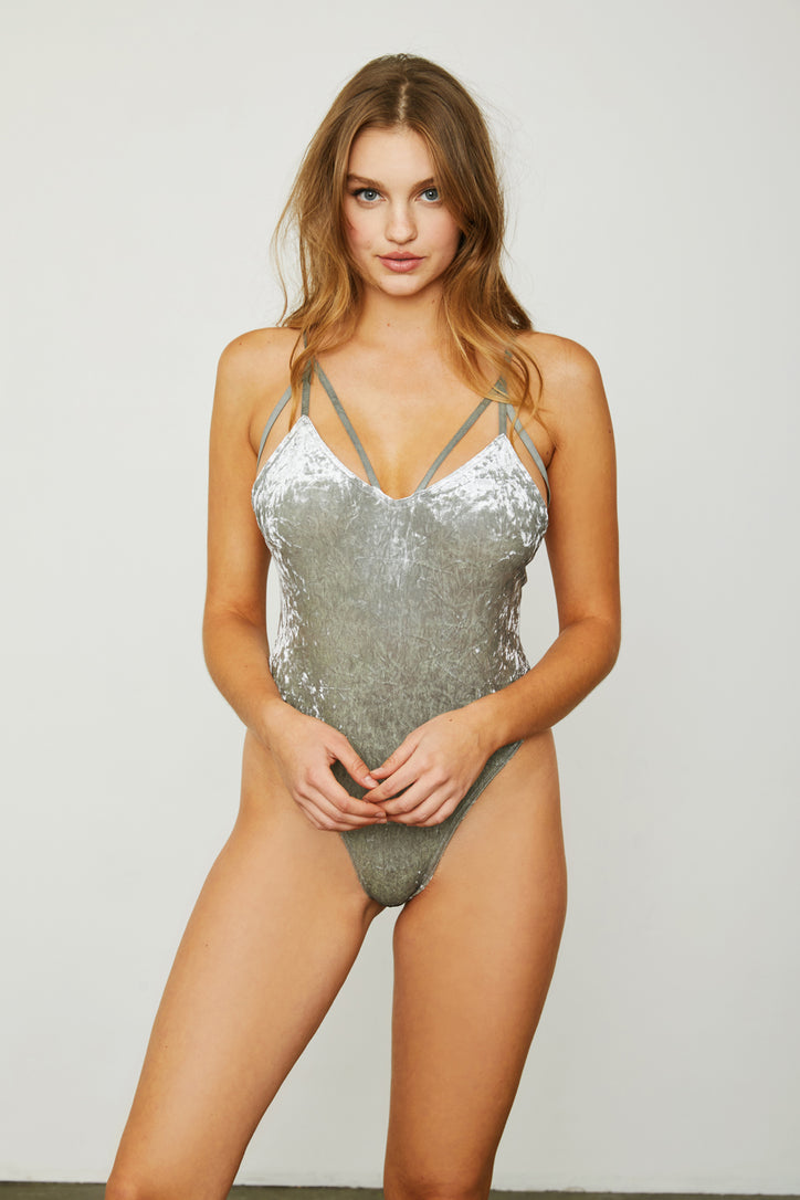 silver stretch velvet v neck bodysuit