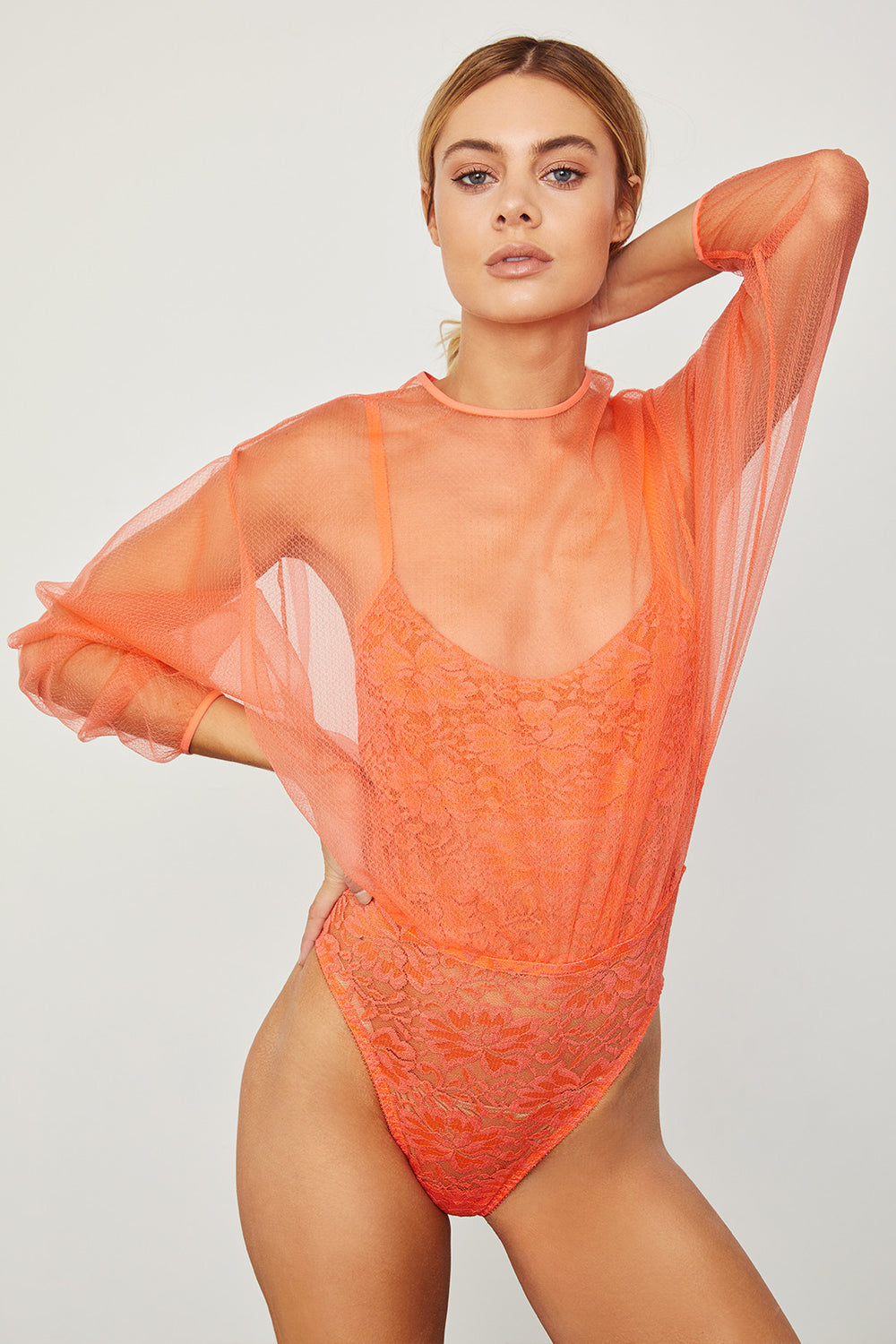 orange mesh bodysuit blouse with lace underlay machine washable