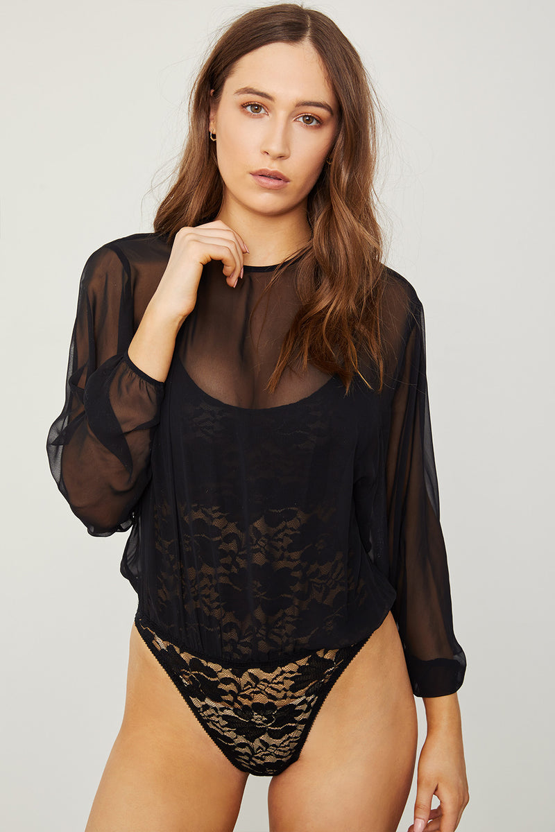 black chiffon bodysuit blouse with lace underlay machine washable