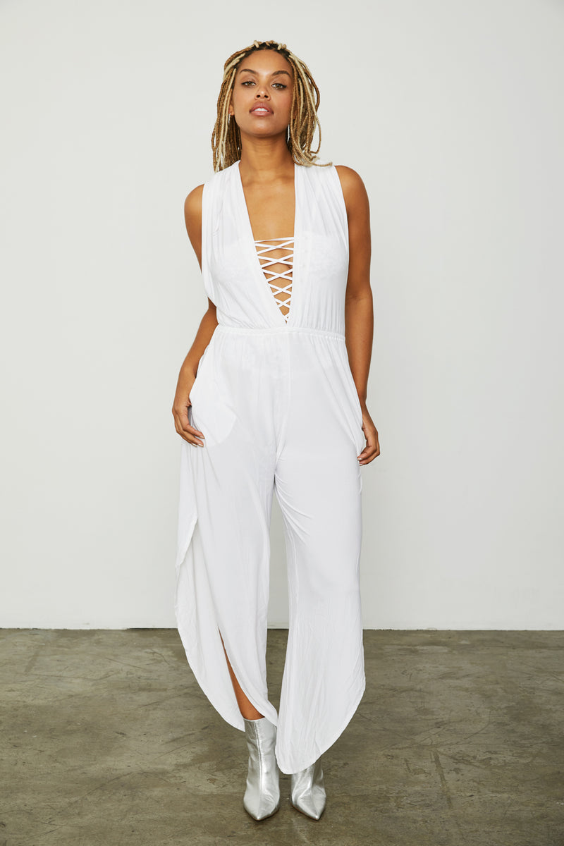 white stretchy knit jumpsuit f neck open back