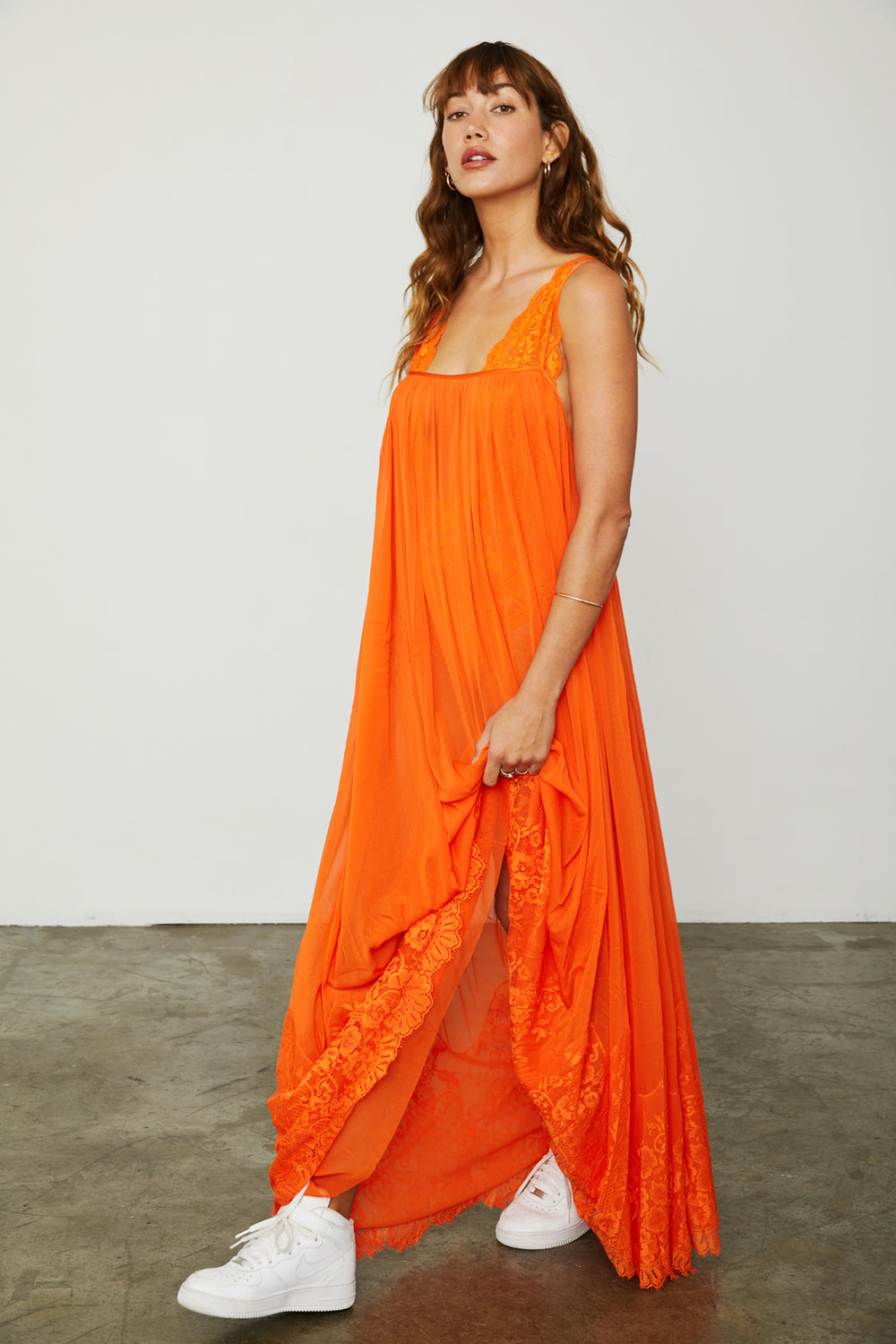orange mesh and lace sheer long maxi dress