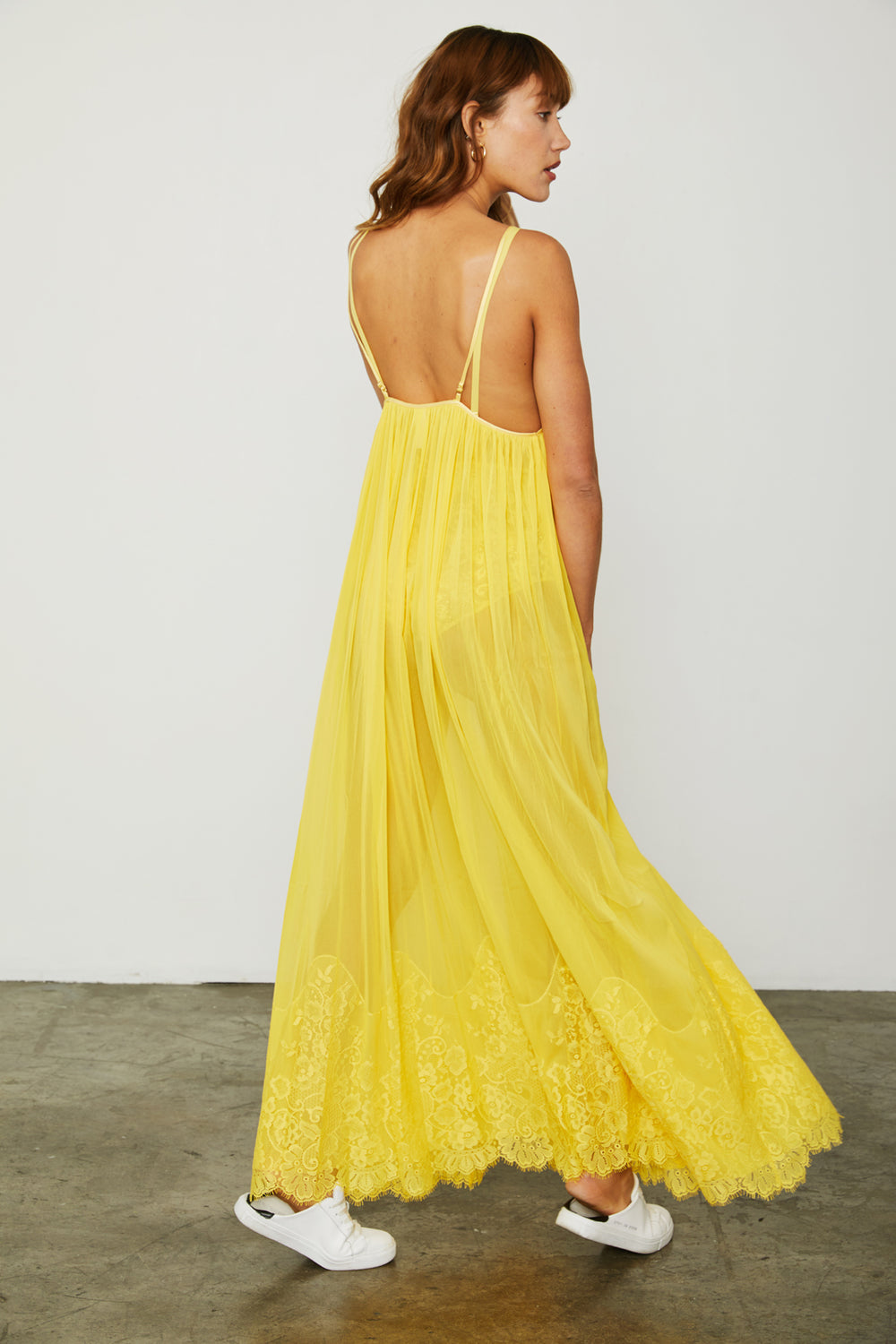 yellow mesh and lace sheer long maxi dress