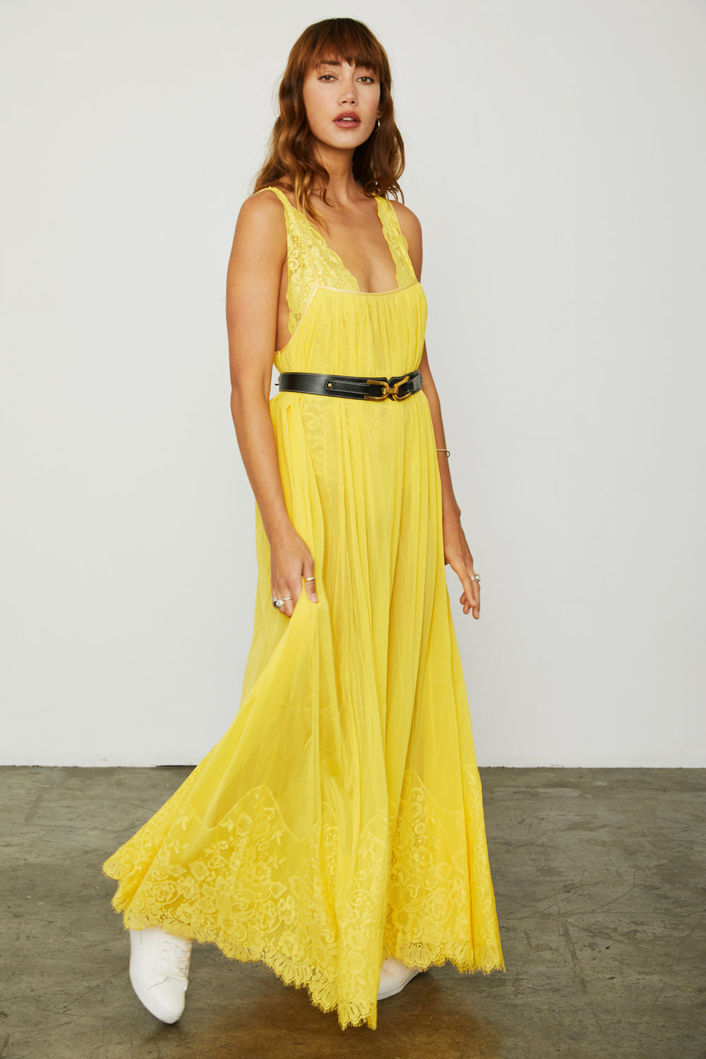 yellow mesh and lace sheer long maxi dress | Model is wearing Size S