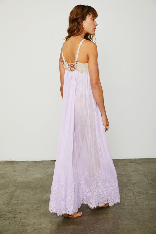 purple mesh and lace sheer long maxi dress| Model is wearing Size S