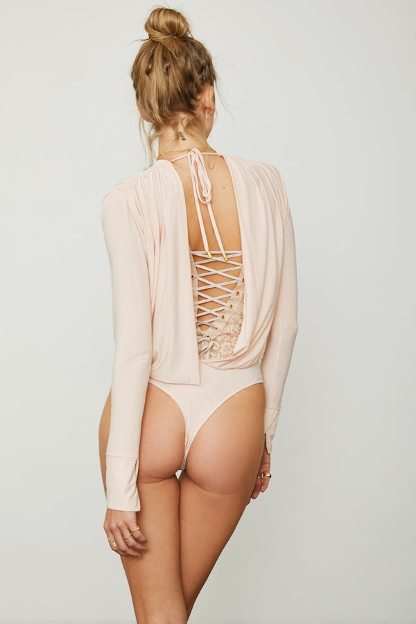 light pink knit v neck bodysuit open back