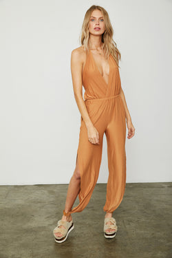 brown stretchy knit jumpsuit f neck open back