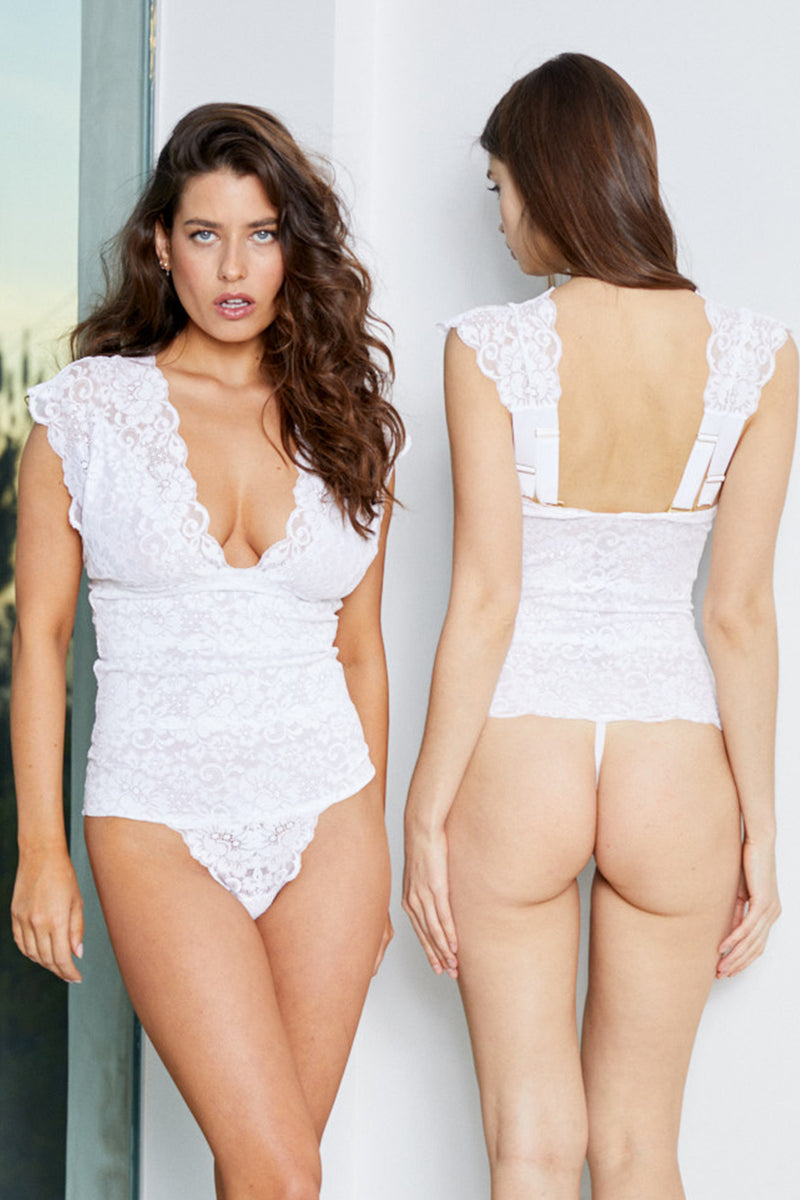 white lace v neck bodysuit with adjustable straps