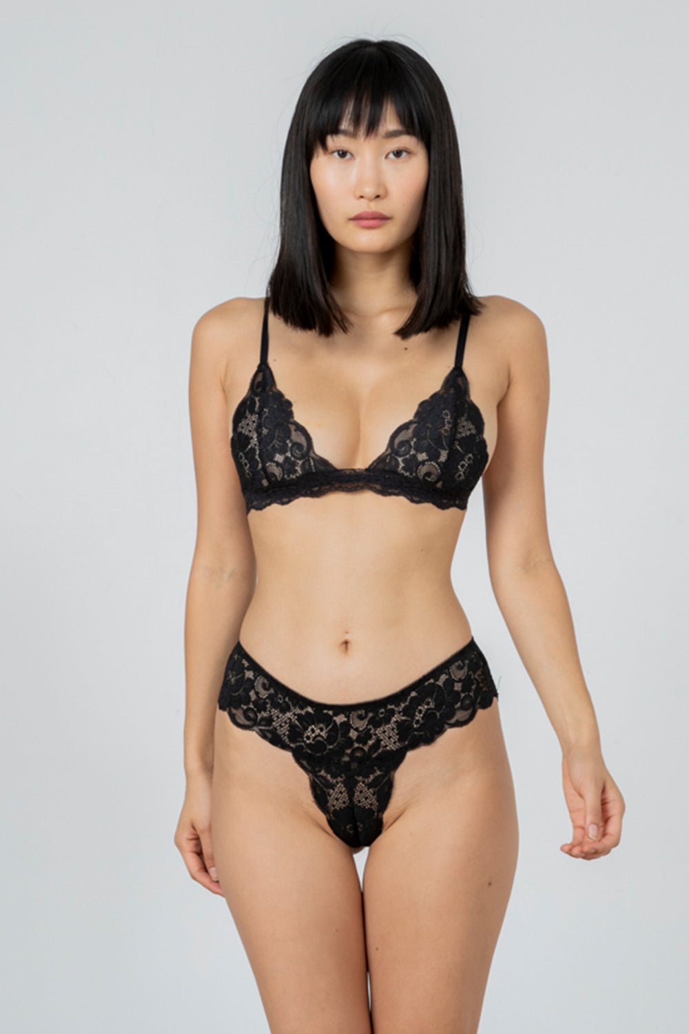 black stretch lace panty with cheeky coverage machine washable