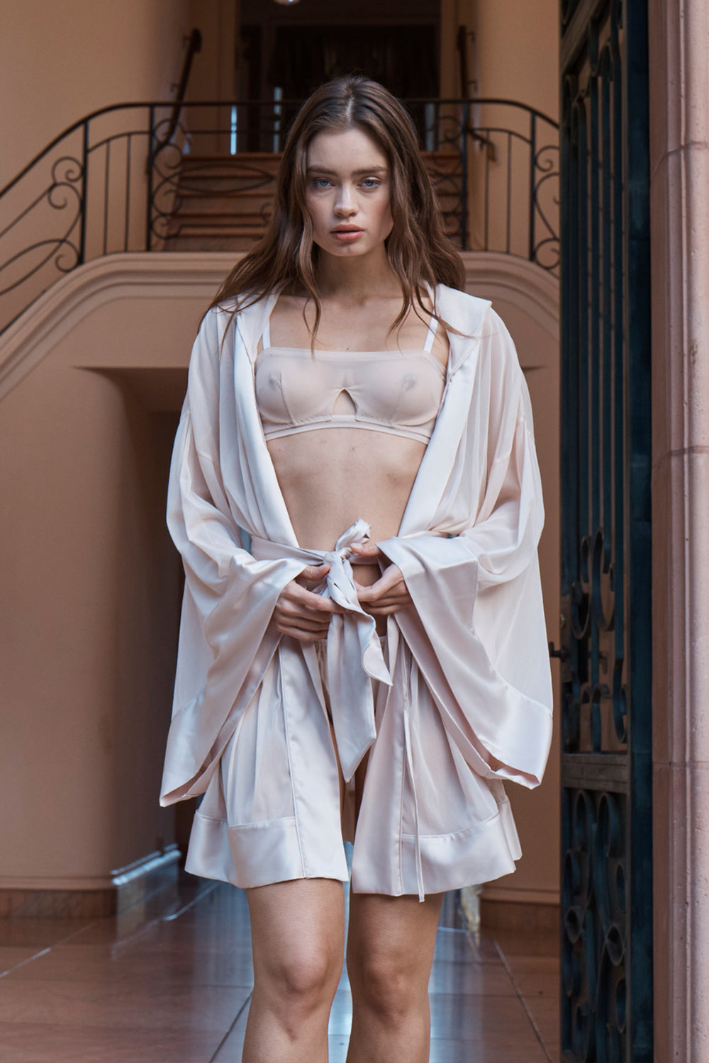 nude mesh vintage inspired kimono with hood machine washable