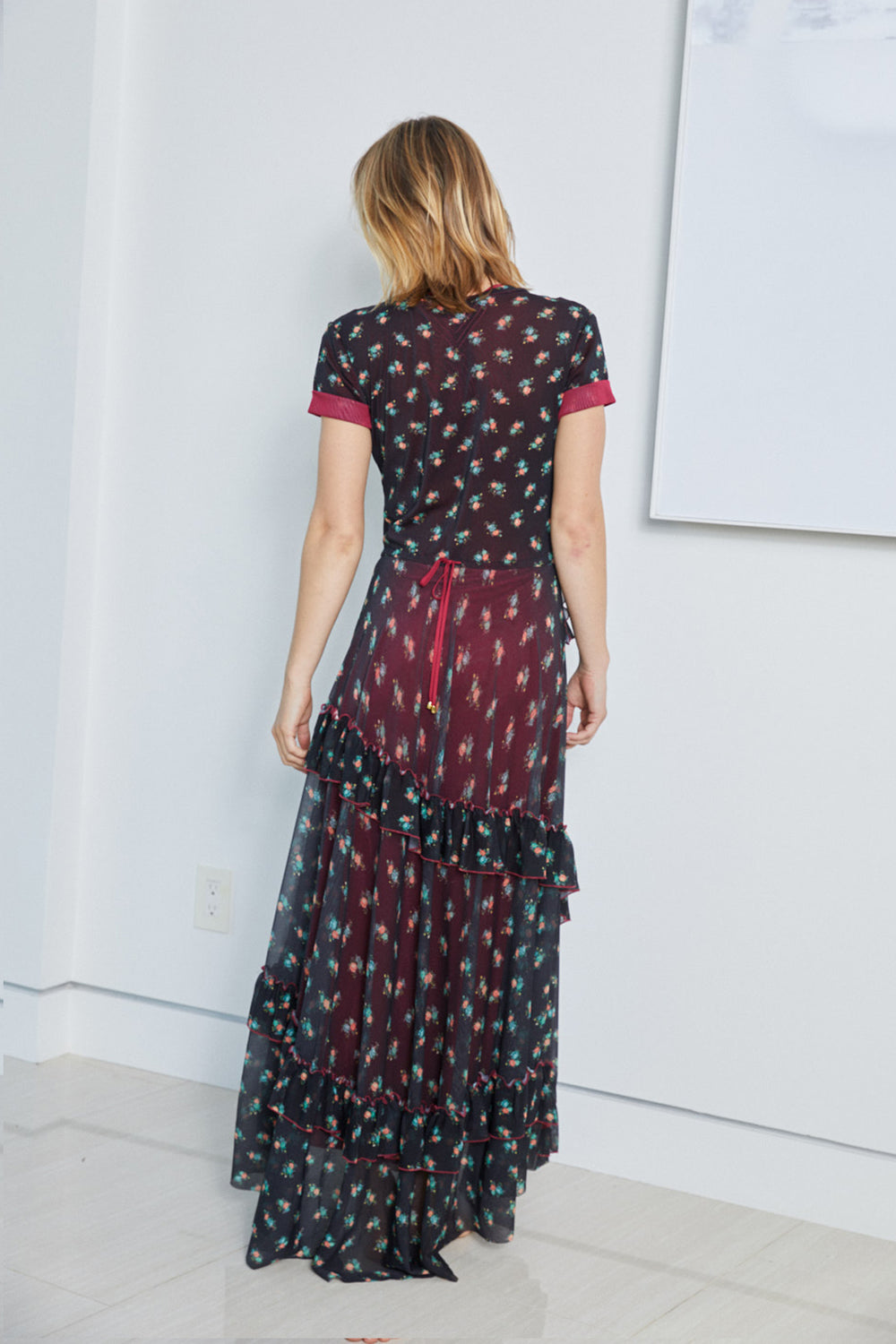 black and red floral mesh vintage inspired ruffled maxi dress with adjustable tie at the waist