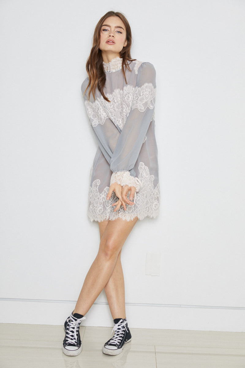 silver gray lace and chiffon victorian high neck long sleeve mini dress bell sleeves machine washable