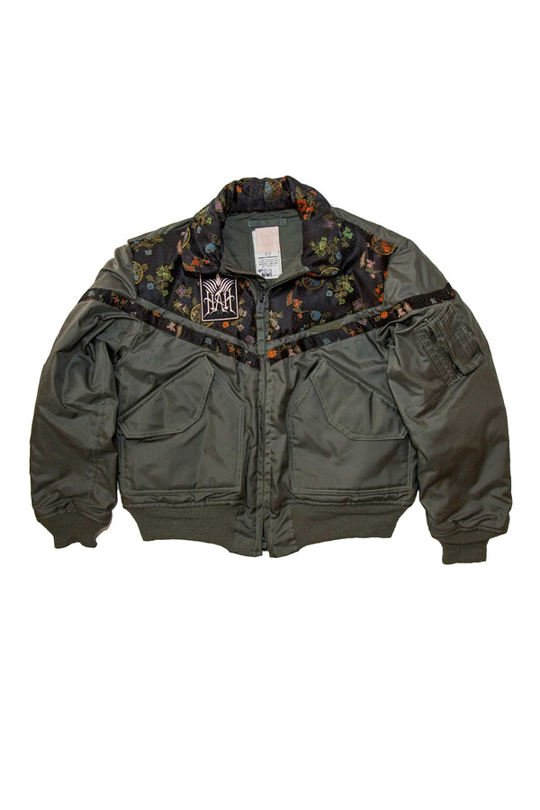 Heavy-weight nylon twill upcycled vintage 1970's flight jacket