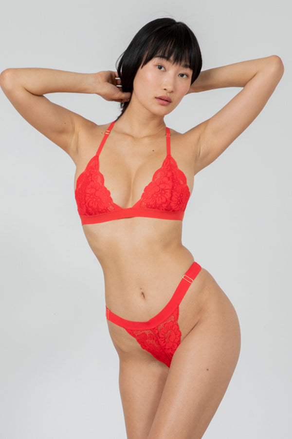 bright red adjustable lace cheeky panty