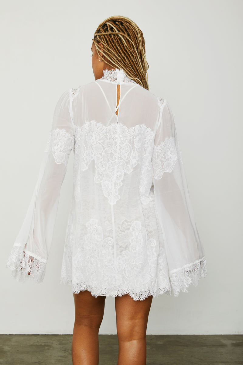 white lace and chiffon victorian high neck long sleeve mini dress bell sleeves machine washable
