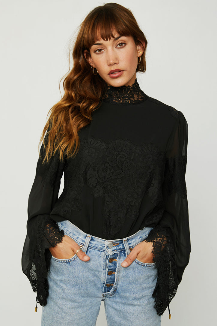 black lace and chiffon victorian high neck long sleeve bodysuit bell sleeves machine washable