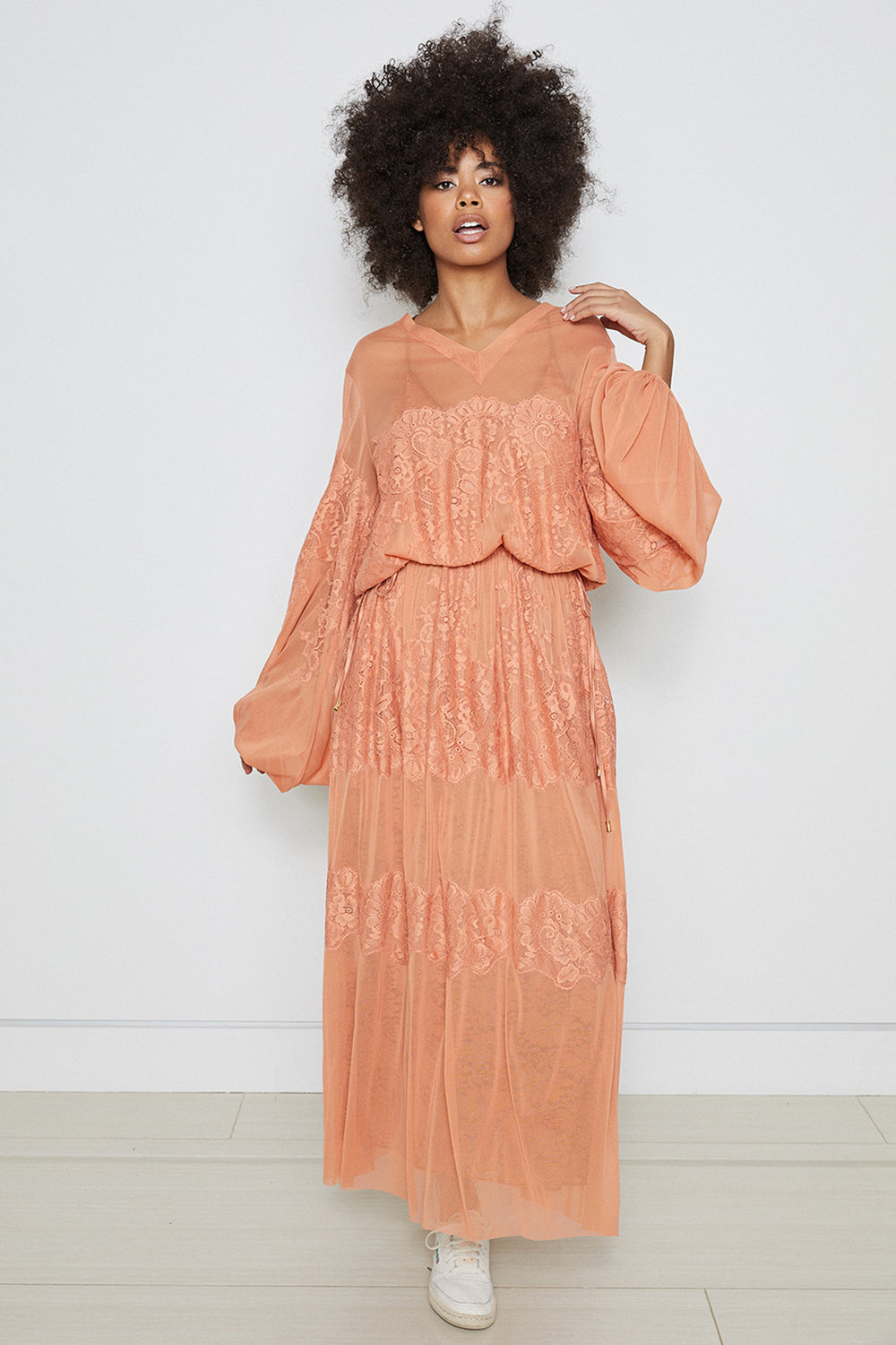 brown loose fitting mesh and lace maxi dress v back machine washable