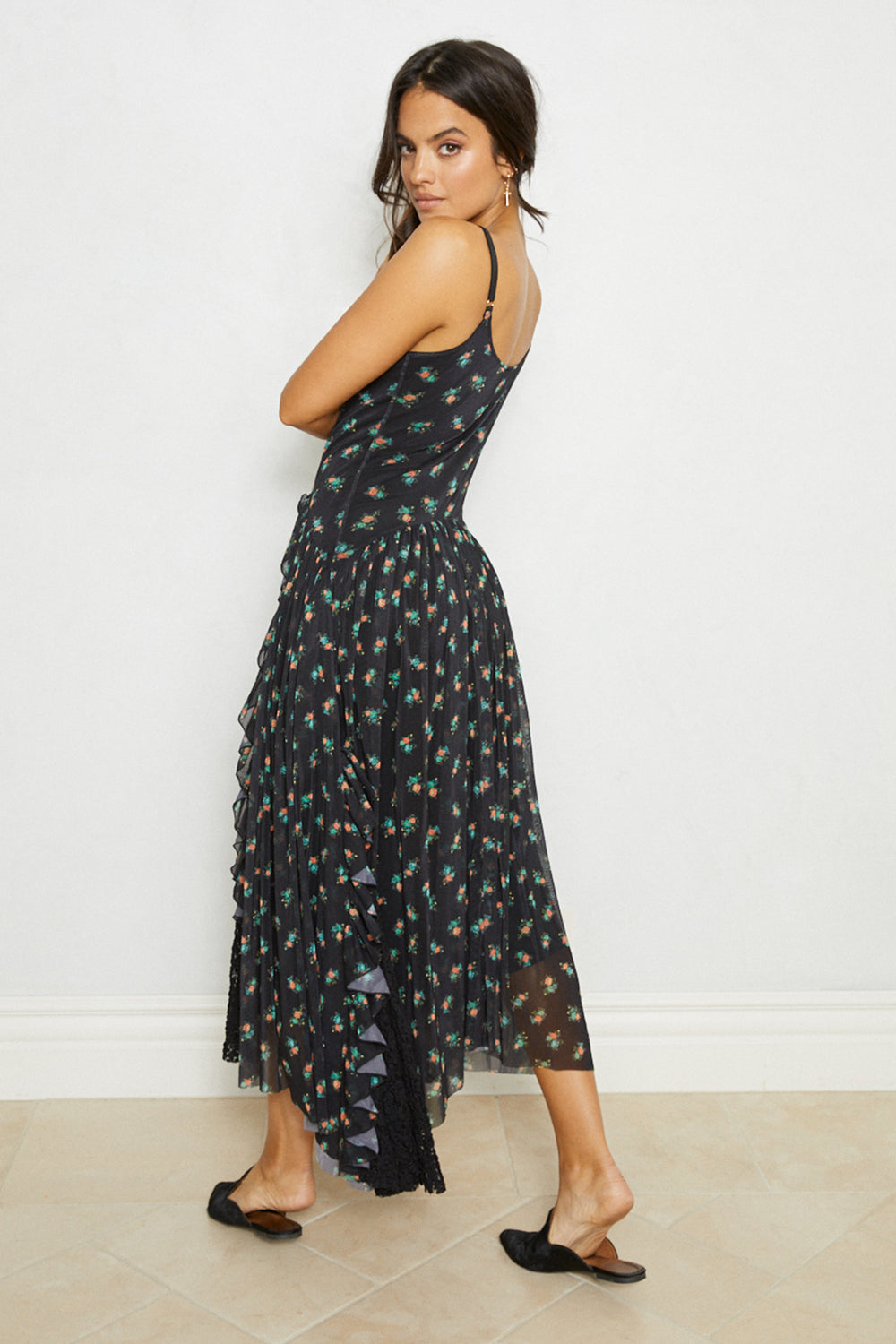 Black floral print adjustable straps vintage inspired drop waist maxi dress with lace ruffles eco-friendly | S