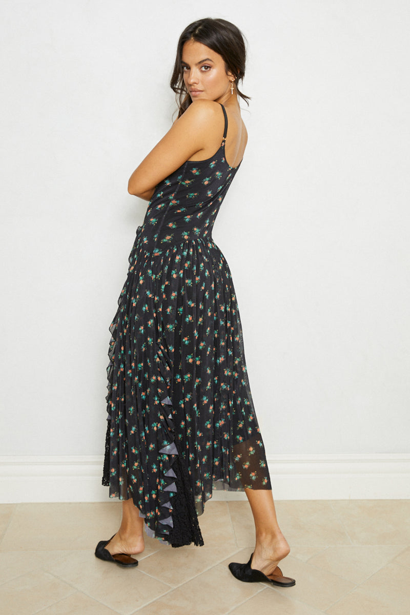 Black floral print adjustable straps vintage inspired drop waist maxi dress with lace ruffles eco-friendly