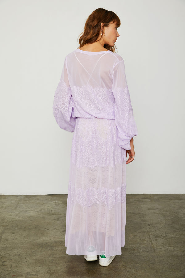 purple loose fitting mesh and lace maxi dress v back machine washable