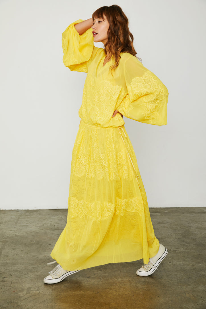 yellow loose fitting mesh and lace maxi dress v back machine washable