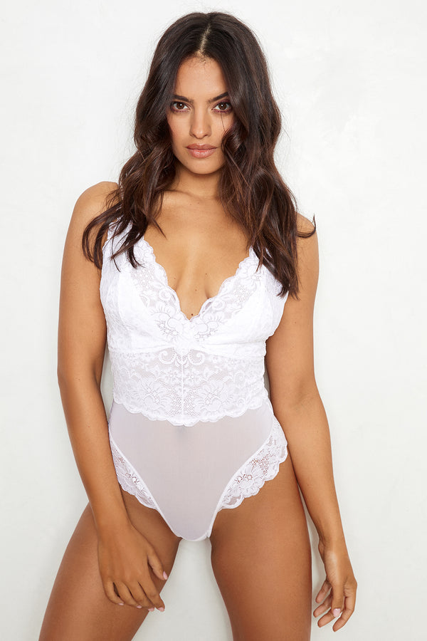White v-neck, adjustable straps lace bodysuit machine washable