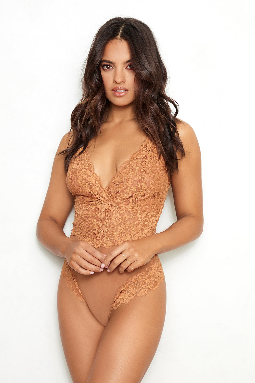 Brown v-neck, adjustable straps lace bodysuit machine washable