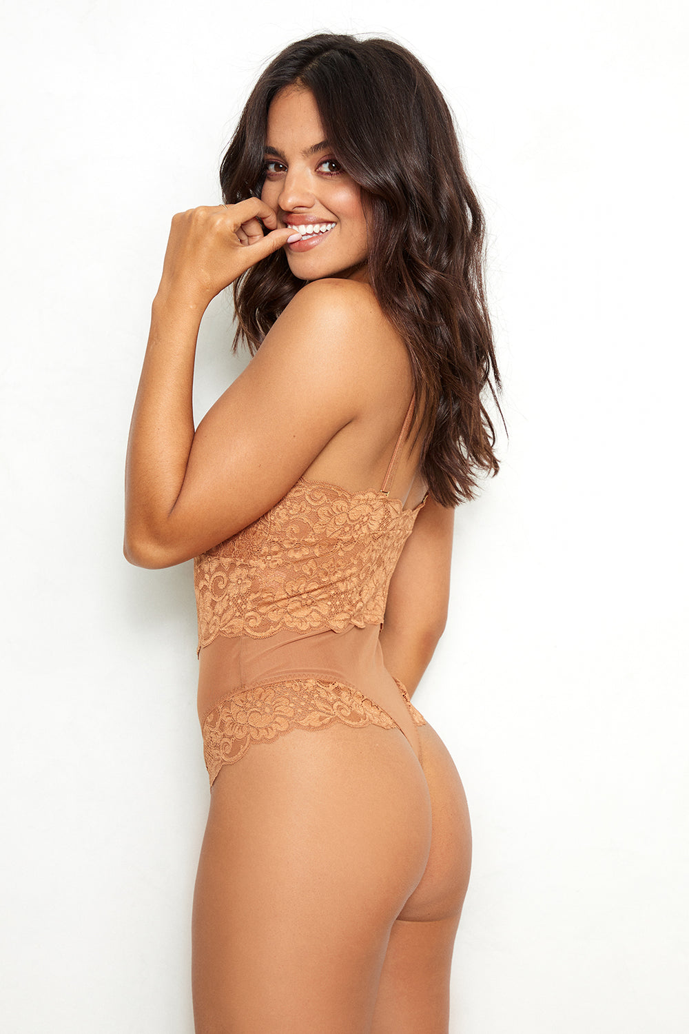 Brown v-neck, adjustable straps lace bodysuit machine washable | Model is wearing Size S
