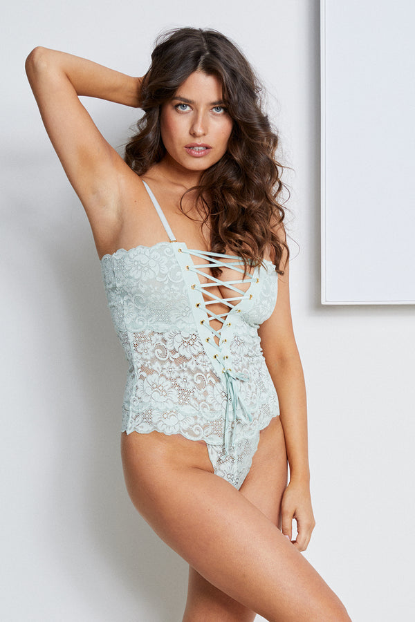 light blue lace-up reversible lingerie bodysuit made of stretch lace.