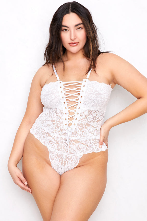 Spinster Reversible Lace Bodysuit | Blanc