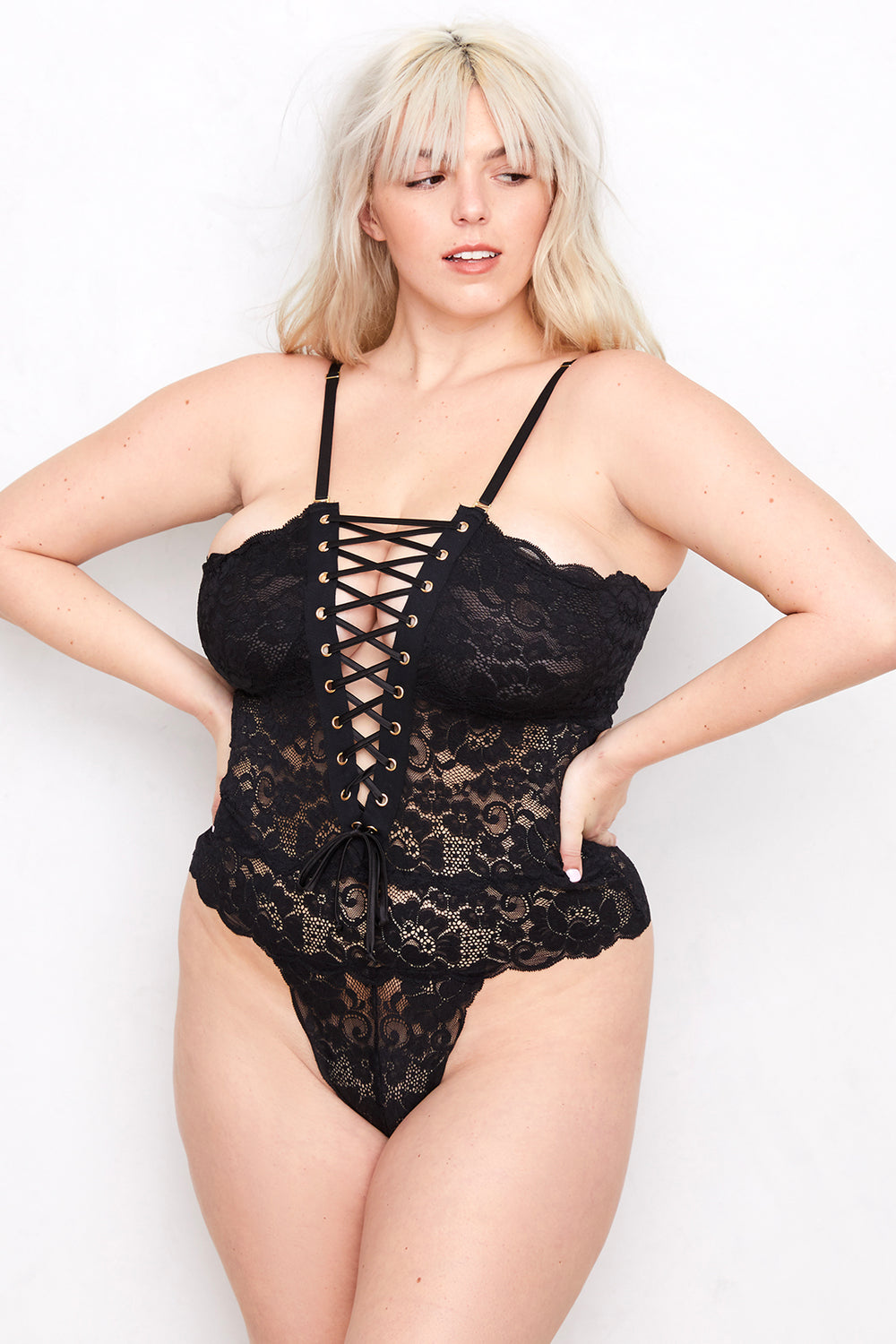 Spinster Reversible Lace Bodysuit | Noir