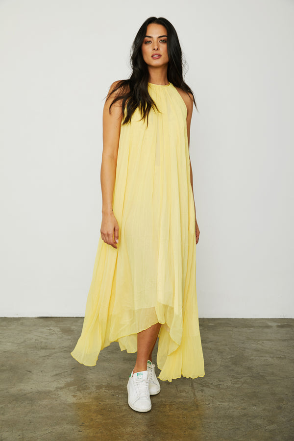 yellow sunshine reversible maxi dress keyhole high neck machine washable vintage inspired