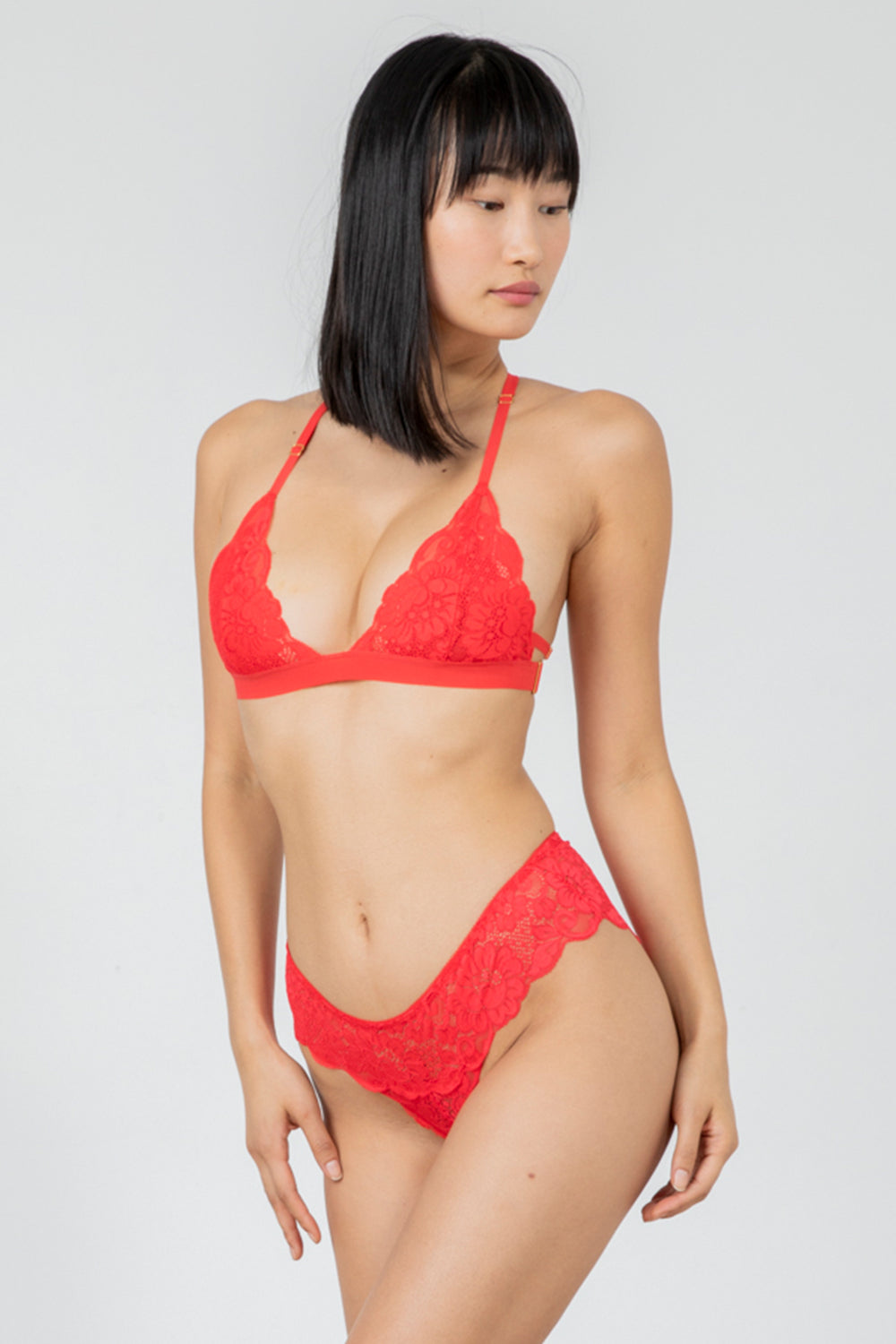 red stretch lace panty with cheeky coverage machine washable