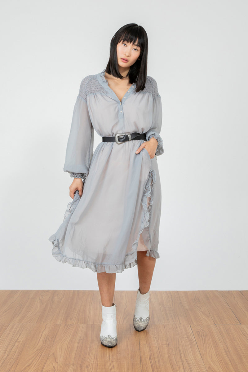 silver grey ruffled chiffon vintage inspired maxi layered tiered dress