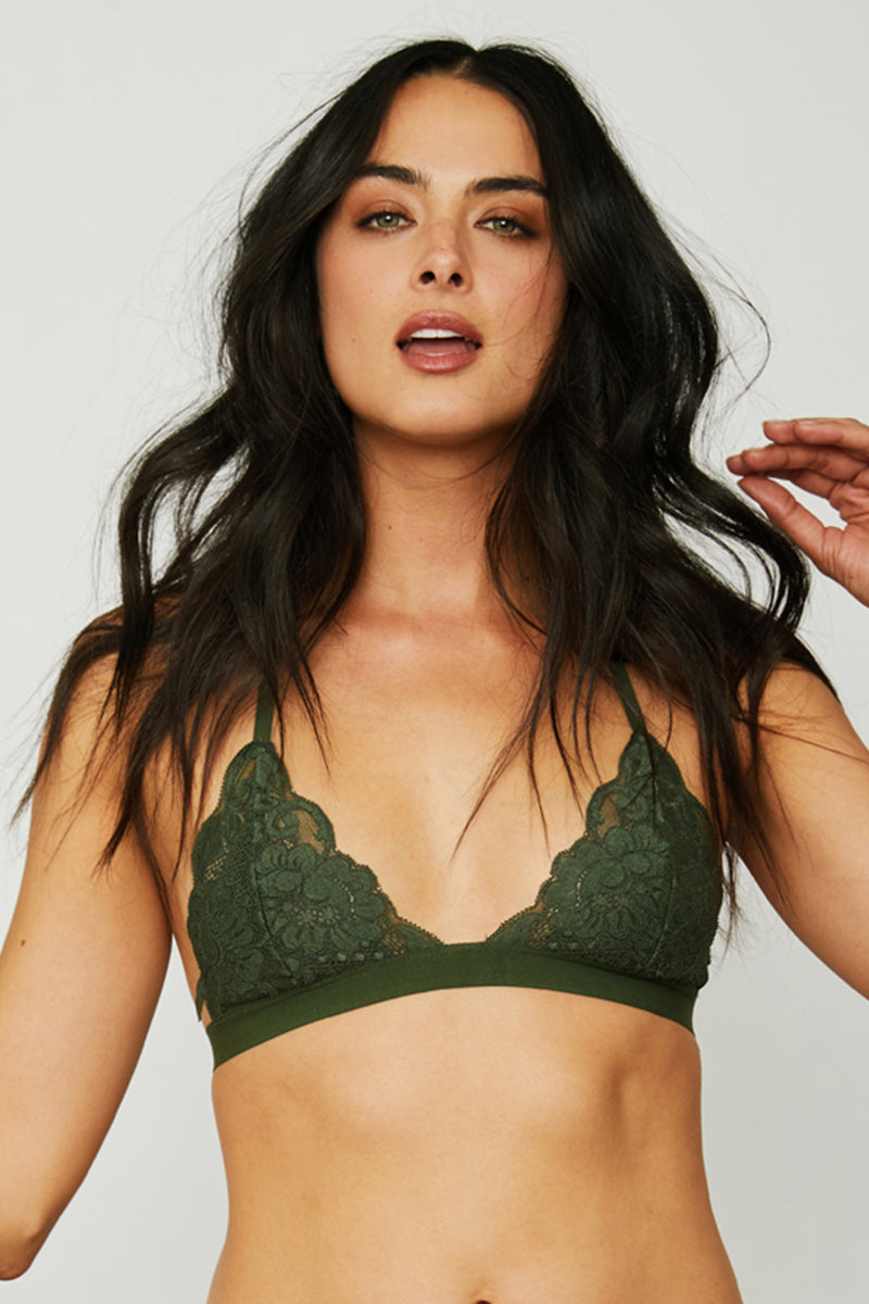 Dark green lace racer-back bralette with fully-adjustable straps for maximum comfort & support.