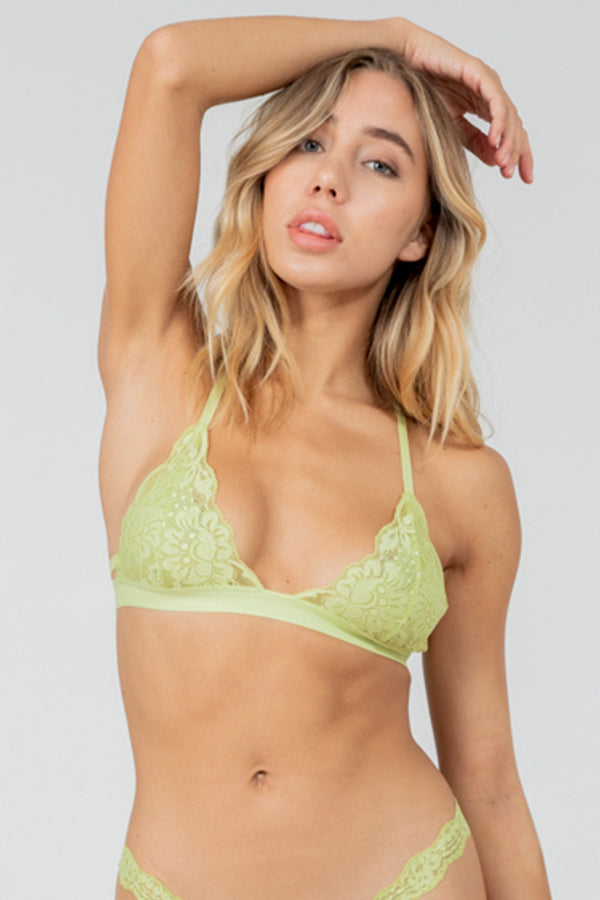 Light green lace racer-back bralette with fully-adjustable straps for maximum comfort & support.