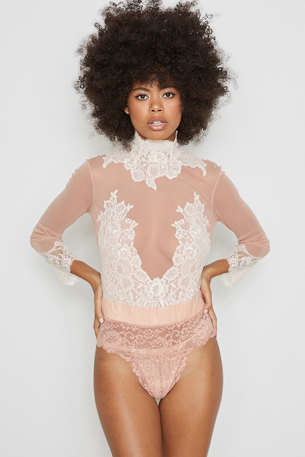 pink reversible vintage inspired mesh and lace high neck bodysuit